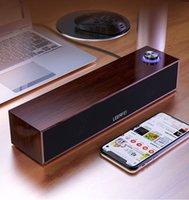 Wooden Portable BT Speaker Sound Bar Wired Desktop Stereo Loudspeaker Subwoofer for PC Computer Mobile Phone with Light