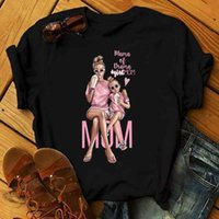 Zogankin Kız Anne T Kadın Annenin Aşk Baskı Siyah T-shirt Harajuku Mama Tshirt Vogue Tee Gömlek Femme Tops