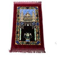 Verdicken Kaschmir-Muslim-Gebet-Teppiche High-End-Chenille-Anbetungs-Teppich 110 * 70cm islamische Musallah-Teppiche arabische Anti-Rutsch-Matte Sea Schiffsschiff owe6356