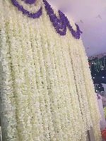 Meter Long Elegant White Artificial Silk Flower Wisteria Vine Hydrangea Rattan For Wedding Decorations Props Decorative Flowers & Wreaths