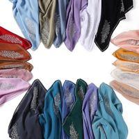 Scarves Malaysia Solid Pearl Chiffon Square Scarf Fashion Leaf Ironed Diamond Headscarf Indonesia Monochrome 581