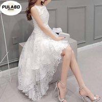 Fille Robes Blanc Élément jolie dentelle Femmes élégantes Ronde ronde Robe de mariage sans manches Casual