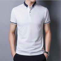 Camicia da uomo Polos Business Business Bavero Fashion British Summer Golf Men Vestiti Casual Slim Fit Manica corta Top V6LQ