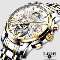 Montre Homme Lige Mens Saatler Üst Su Geçirmez Otomatik Mekanik Iş Saati Altın İzle Erkekler Relogio Masculino Saatı