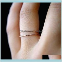 Band Rings Jewelry2Pcs Set Gold Twist Geometric For Women Jewelry Fashion Cute Thin Slim Knuckle Joint Ring Set Female Party Gifts Wholesale