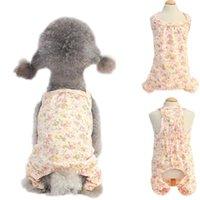 Female Pet Dog Pajamas Floral 4 Legged Dog pjs Jumpsuit Soft Cotton Clothes Vest Shirt Summer Tracksuit Nightshirt Apparel L