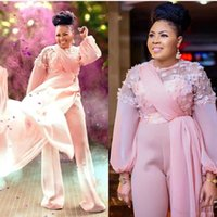Pink 3D Floral Evening Jumpsuit Dresses with Train 2021African Nigerian Long Sleeve Plus Size Chiffon Prom Gowns Pant Suit
