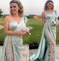 Designer Evening Dresses Long Sleeves mint green One Shoulder Beaded Sequins Lace Ruched Crystals Mermaid Side Slit Prom Party Gown Plus Size vestido
