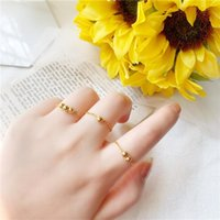Wedding Rings Women's Gold Beans Small Beads Chain Ring, Soft Minimalist Girl's Transfer Bead Ring Style