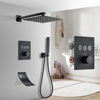 Bathroom Shower Sets Matte Black Thermostatic Faucet Set Rain Waterfall Bathtub System Mixer Tap Wall Mounted Button
