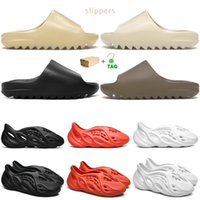 2021 kanye zapatillas hombres diapositivas Bone Earth Brown Desert Sand Foam Runner triple blanco negro para mujer sandalias al aire libre con caja