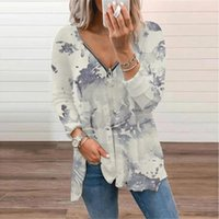 Women's T-Shirt Chinese Style Ink Printed Casual Tshirt For Woemn's Clothing 2021 Autumn Zipper Top Oversized V Neck Tee Shirt Tunic