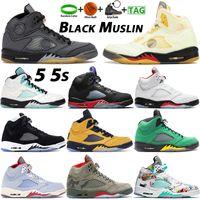 أحذية كرة السلة الكلاسيكية 5 5S Whtie X Sail Black Musllin ما هي جزيرة رمادية أخضر وردي فاتح ضوء أكوا GS الرجال النساء أحذية رياضية