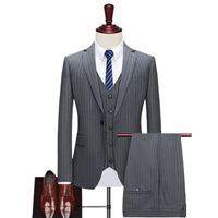 Pinstripe Slim-Fitting Herrenanzug für formale Hochzeit Smoking Notch Revers 3-Stück Set Grau Schwarzer Streifen Business Bräutigam Männliche Mode Anzüge BLA