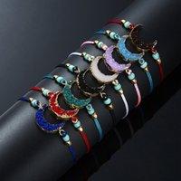 Handgemachtes Druzy Harz Stein Armband machen ein Karten Wachs Seil geflochtene Mondarmbänder Armreifen mit Reisperlen für Frauen Strandschmuck