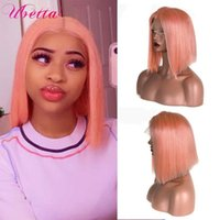 Lace Wigs Pink Bob T Part Front Human Hair 13X1X4 Pre Plucked Colored Short For Black Women Remy Custom Wig