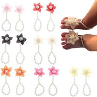 Girls Hair Accessories Baby Anklets Shoes Accessory Feet Decorated Pearl Flower Elastic Foot Sandals Newborn Photography Props Bracelet B7332