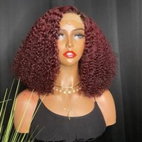 99J Burgundy Afro Curly Human Hair 360 Lace Frontal Full Wigs for Black Women 180 Density 13x6Lace Front Wig Pre Plucked Hairline red bleached knots