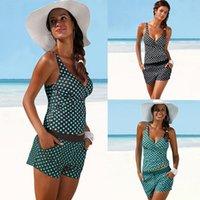 Women's Swimwear Two Piece Women Tankini Set Summer Casual Dot Printed Push Up Padded Bra Swimsuit Bathing Suit