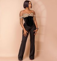 2021 Plus Size Arabic Aso Ebi Black Sexy Jumpsuits Prom Dresses Lace Beaded Sweetheart Evening Formal Party Second Reception Gowns Dress ZJ220
