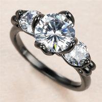 Trendy masculino femenino blanco cristal anillo de piedra encanto 14kt negro oro anillos de boda para mujeres hombres punk ronda circón compromiso
