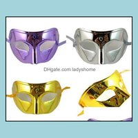 Masks Festive Supplies Home & Gardenfashion Halloween Colorf Party Half Face With A Flat Gold-Plated Mask Dance Coloured Man Ding Or Pattern