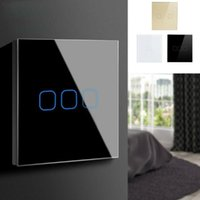 2G 3 Gang LED Light Glass Panel Touch Sensor Switch Waterproof Wall Lamp On Off Dimming Wireless White Black Gold Dimmers