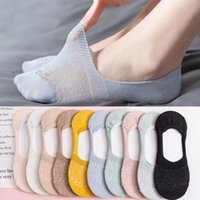 Socks & Hosiery Summer Women's Cotton Hollow Out Anti Slip Invisible Boat High Heels Women Soft Low Ped