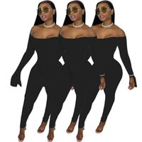 Women Jumpsuits Rompers fall winter clothes sexy club solid color gym slash neck long cap sleeve leggings full-length pants sportswear bodysuits off shoulder 01720