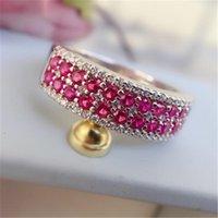 Anéis de Cluster Anziw 925 Sterling Silver Red Stones Banda Anel Noiva Noiva Para As Mulheres Partido Amante Jóias Presentes