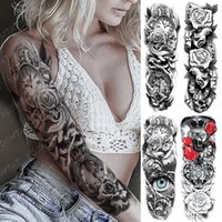 Large Arm Sleeve Tattoo Clocks Rose Eye Lion Waterproof Temporary Tatto Sticker Flower Time Body Art Full Fake Tatoo Women Men