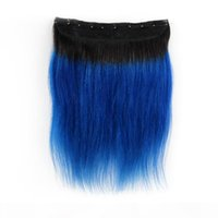 Hot Selling Wholesale 1B blue Straight One Piece Clip In Human Hair Extensions 5Clips With Lace Remy Human Hair