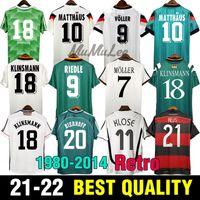 레트로 Soccer Jerseys 1980 1988 1990 1992 1994 1996 1998 2004 2006 2014 독일 클래식 빈티지 뮬러 Klinsmann Deutschland Fooball Shirts