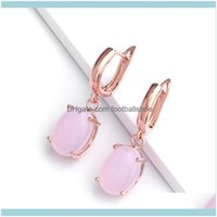 Stud Jewelrydesigners 585 Womens Four Claw Color Simple Temperament Rose Gold Zircon Exquisite Earrings Erp12 Drop Delivery 2021 Ihhxj