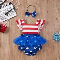 Conjuntos de ropa 2 unids Nacidos Romper + Bow Headband, American Flag Imprimir Día de la Independencia Tema Ropa de verano para niñas, 0-18 meses