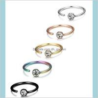 Anelli per borchie Drop Consegna 2021 C Body Piercing Stud Diamante di cristallo in acciaio inox naso in acciaio inox anello per le donne gioielli di moda e
