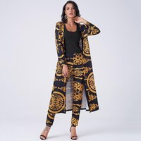 Kadın İki Parçalı Pantolon Yaz Kadın 2 Parça Set Vintage Palazoo Baskı Yüksek Bel Elastik Uzun Kollu Açık Ön Ceket Homewear Business Sui