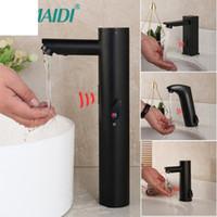 Матовый черный твердой латунь холодной водяной смеситель без сенсорных инфракрасных кран автоматического датчика кран ванной бассейна