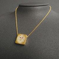 Chains Punk Necklace Chokers For Women Gold Color Geometric Square Pendant Necklaces Lion Statement Party Hip Jewelry Zk30