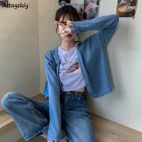 Women's Knits & Tees Cropped Cardigan Women Slim Pure Fashion Korean Style Knitted Soft Single Breasted Spring Autumn Casual Female Clothes