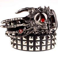 Grande Crânio Crânio Crânio Fantasma Mão de deus Metal Fivela Cintos Devil Ey Ghost Goste Cinto De Garra Punk Style Mostrar Cinturão Homens