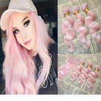 Малайзийские волосы девственницы розовые пакеты кузова с кружевной крышкой розовые розовые волосы плетения с кружевной закрытием отбеленные узлы с волосами младенца
