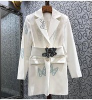 Casual Dresses High Quality Long Blazer Dress 2021 Autumn Women Notched Collar Crystal Beading Belt Deco Sleeve Outfits Female