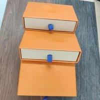 Cajas de cajones de embalaje de regalo al por menor Orange Bolsas de tela con cordón Bolsas de tarjetas Folleto Bolsa de asas para collares de joyería Pulseras Llaveros