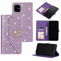 Coeur scintille portefeuille de portefeuille pour iPhone 13 Pro Max Mini 12 11 XR XS x 8 7 6 Samsung S21 Ultra Plus Fe Love Bling Bling Diamant Glitter Sparkly Filles de luxe Lady Flip Couverture