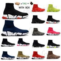 2021 양말 캐주얼 신발 최고 품질 쌍 남성 디자이너 여성 트레이너 쿠션 1 속도 2.0 운동화 트리플 s 블랙 야외 플랫폼 양말 스니커즈