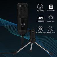DOCOOLER Condenser Microphone USB Karaoké Enregistrement de la diffusion Podcasting avec trépied de pince pour ordinateurs de bureau pour ordinateur portable Microphones PC