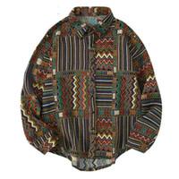 Streetwear Uzun Kollu Pamuklu Gömlek Erkekler Ulusal Renk Blok Geometrik Desen Hip Hop Harajuku Vintage Rahat Gevşek Erkekler