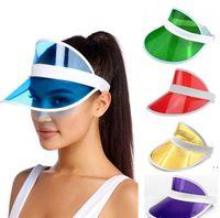 Güneş Şapka Yaz Unisex Çocuk Açık Şeffaf PVC Boş Üst Şapka UV Visor Güneş Şapka Moda Yaz Açık Parti Şapka Sea HWC7209