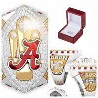 2020-2021 Alabama Crimson Tide National Championship Bague avec boîte à écran en bois Souvenir fan Hommes Taille 8-14